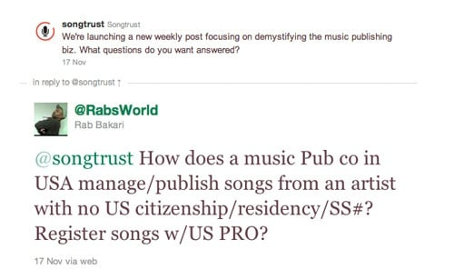 RabsWorld question for Songtrust