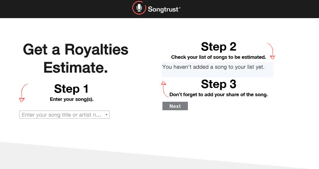 Songtrust Royalty Estimator