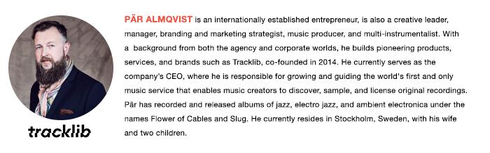 Tracklib's CEO, Pär Almqvist